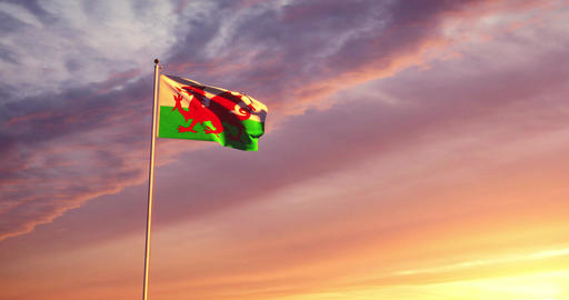 Welsh flag waving represents the country of Wales and Capital Cardiff - 4k Animation