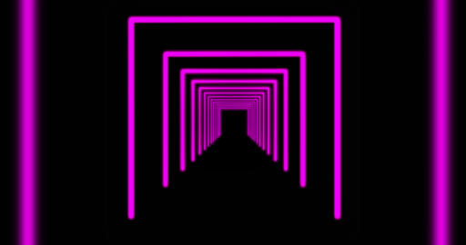 Pink neon tunnel pattern or glowing path represents the Cyberspace Highway - 4k Animation