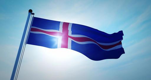Iceland flag waving represents the Island Icelandic people. Celebration of independence and Animation