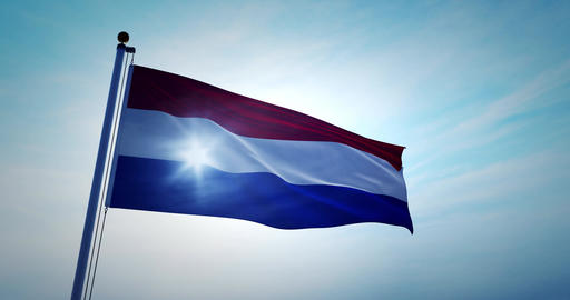 Netherlands flag flying represents Holland the Dutch kingdom - 4k Animation