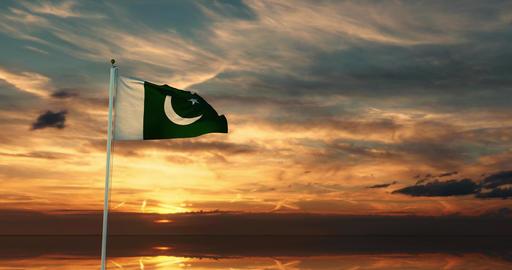 Pakistani flag waving depicts the national symbol of Pakistan - 4k Animation