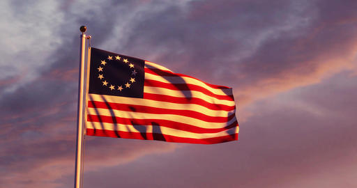 Betsy Ross flag flying shows historical United States revolution - 4k Animation