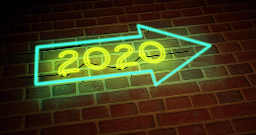 neon 2020 sign shows glowing New Year's celebration - 4k Animation