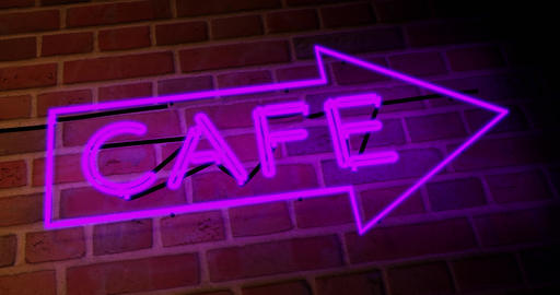 Neon cafe sign above restaurant shows diner with food available - 4k Animation