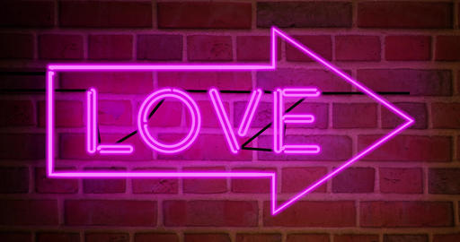 Neon love sign above entrance is advertising for nightclub or massage - 4k Animation