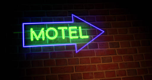 Neon motel sign shows motor Lodge location for accommodation - 4k Animation