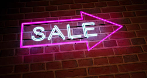 Neon sale sign has discount offers or promotions for products and services - 4k Animation