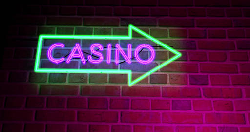Neon Casino sign with lighted text in Las Vegas or Nevada - 4k Animation