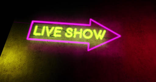 Live show sign in neon text above nightclub or music bar - 4k Animation
