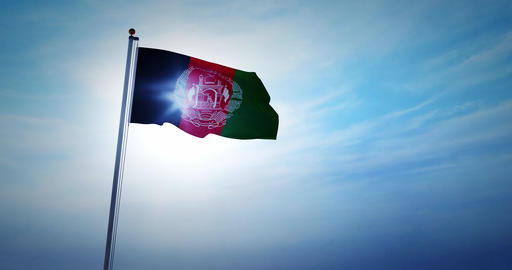 Afghanistan flag waving represents the Islamic Republic of Afghanistani people - 4k Animation