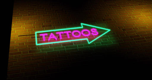 Neon tattoo sign graphics symbol advertisement for parlour open - 4k Animation