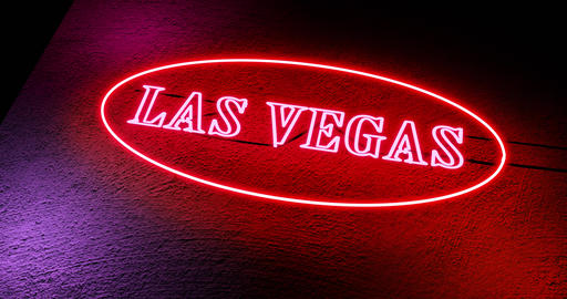 Las Vegas neon sign shows casino for gambling and tourism in America - 4k Animation