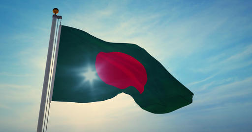 Bangladesh flag waving a patriotic sign for Bangladeshi people or tourism - 4k Animation