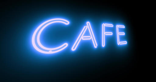 Cafe neon sign illuminated shows diner with food available - 4k Animation
