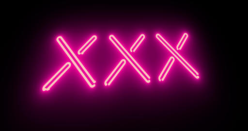 Xxx sign as illuminated neon advertising for nightclub or massage - 4k Animation