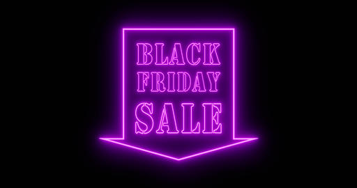 Black Friday neon sign is neon advertisement for discounts and savings - 4k Animation