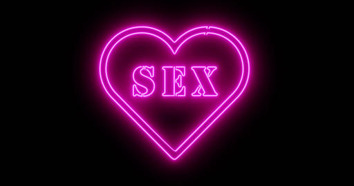 Neon Sex sign as illuminated advertising for nightclub or massage - 4k Animation