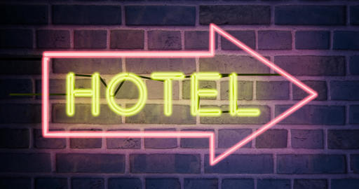 Hotel neon sign above guest house room - 4k Animation