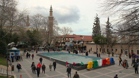 Bursa city center, Ulu cami mosque and grand bazaar view. Daily life in Bursa peoples Live Action