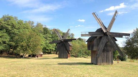 Wooden Ukrainian mill in the Chernivtsi Regional Museum of Folk Architecture and Live Action