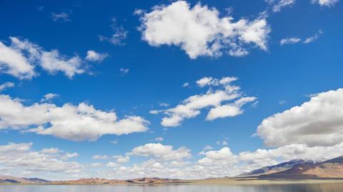 Clouds moving ower Mongolian lake Uureg Nuur Live Action