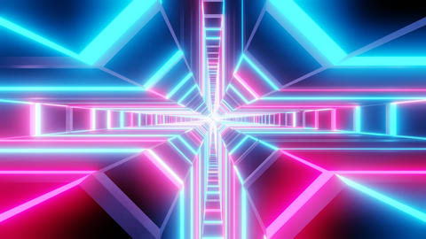 Blue pink cross shape tunnel abstract animation CG動画