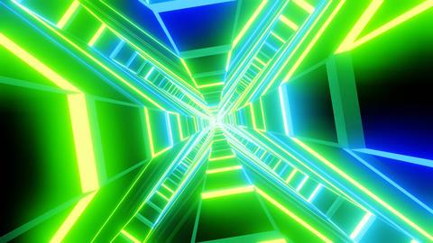 Green blue cross shape tunnel abstract animation CG動画