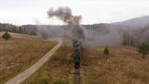 Old vintage train (locomotive) moving through the breathtaking forest railway, mountains landscape, Live Action