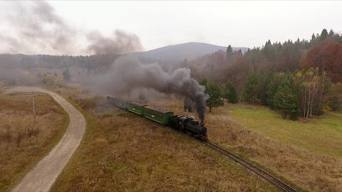 Old vintage train (locomotive) moving through the breathtaking forest railway, mountains landscape Live Action