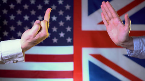 The United States shows the middle finger towards Great Britain, the United Live Action