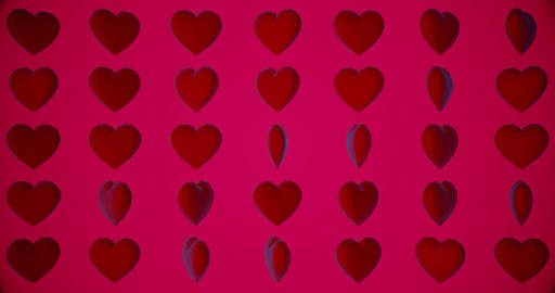 Romantic pattern with polygonal red hearts. For Valentine's Day event. Loop Animation