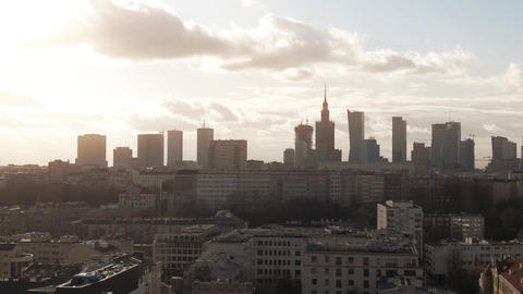 Aerial view of Warsaw downtown skyscrapers behind old residential buildings Live Action