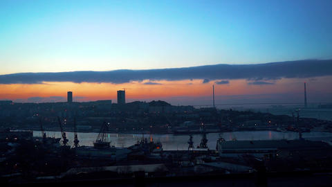 Timelapse of the city landscape at dawn. Vladivostok, Russia Live Action