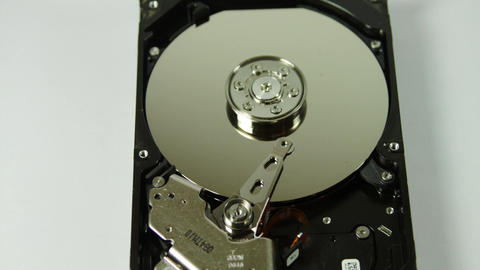 Opened Hard Drive Isolated On White, Media, Technology, Tilt Footage