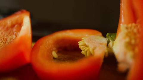 Pan Over A Red Bell Pepper Just Sliced Footage