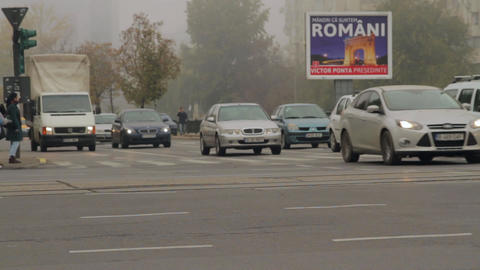 Busy Autumn Day In The City, Heavy Traffic, Foggy Cold Day Footage
