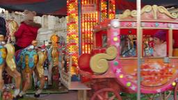 Happy Kids In Winter Fair Carousel, Merry Go Round, Joy Footage