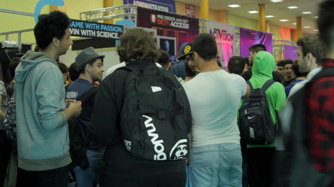 People Waiting In Line At Convention, Teenagers, Crowd, Comicon Footage