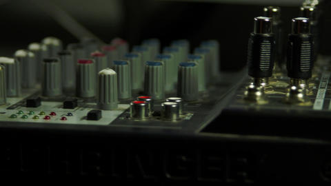 Editor's Hand Inserting Headphones Jack Into Sound Mixer, Media, Equipment, Pan Footage