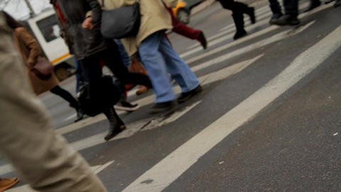 Busy Day In The City, Pedestrians Crossing, Autumn Dark Day, Dutch Angle Footage