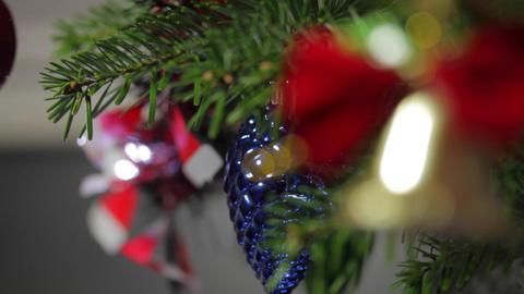 Christmas Tree Decorations On A Christmas Tree, Rack Focus Footage