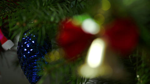 Macro Shot Of Christmas Decoration On A Christmas Tree Branch Footage