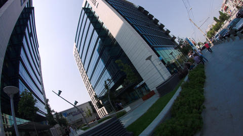 Twin Towers In Big Business Center In Bucharest, Busy Day, Dutch Angle, Tilt Footage