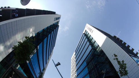 Twin Towers In Big Business Center In Bucharest, Busy Day, Pan Live Action