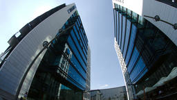Twin Towers In Big Business Center In Bucharest, Busy Day, Pan Footage