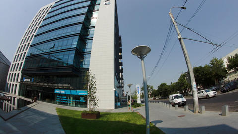 Twin Towers In Big Business Center In Bucharest, People Passing By, Busy Day Footage