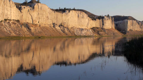 Reflection of the white cliffs of the Missouri River in Montana along the Lewis Footage