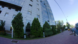 Business Building In Bucharest, Modern Architecture, Traffic, Busy Day, Tilt Footage