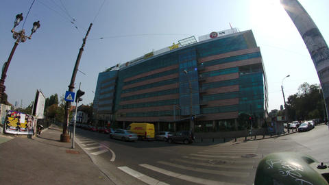 Opera Business Center In Downtown Bucharest, Pan Fish Eye Lens Footage