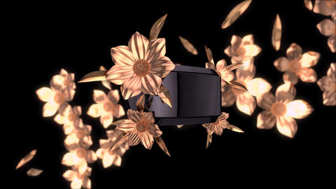 Abstract background of virtual reality with golden flowers Animation